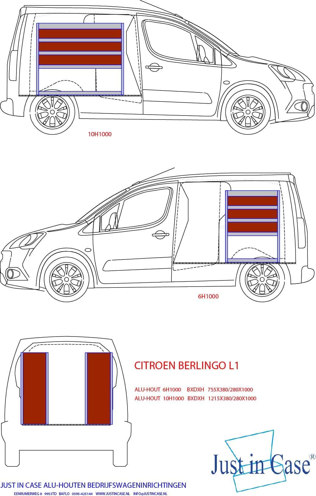 Peugeot Partner (L1) bedrijfswageninrichting schets