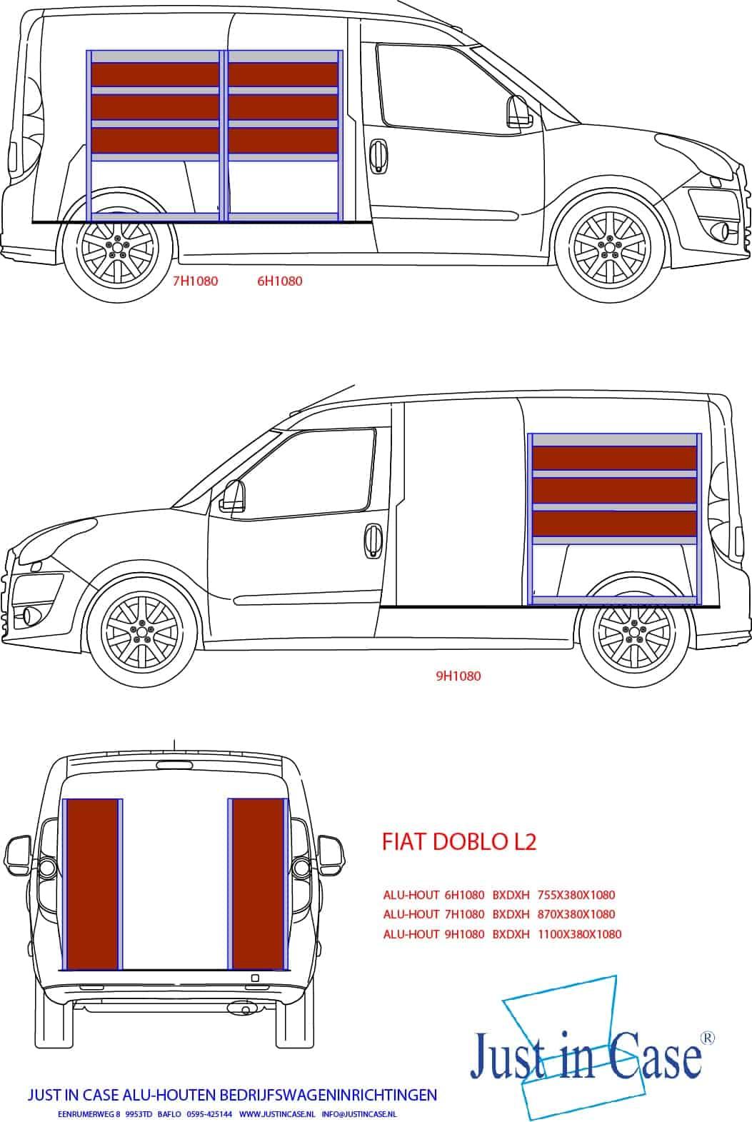 Inrichting bedrijfsbus Fiat Doblo
