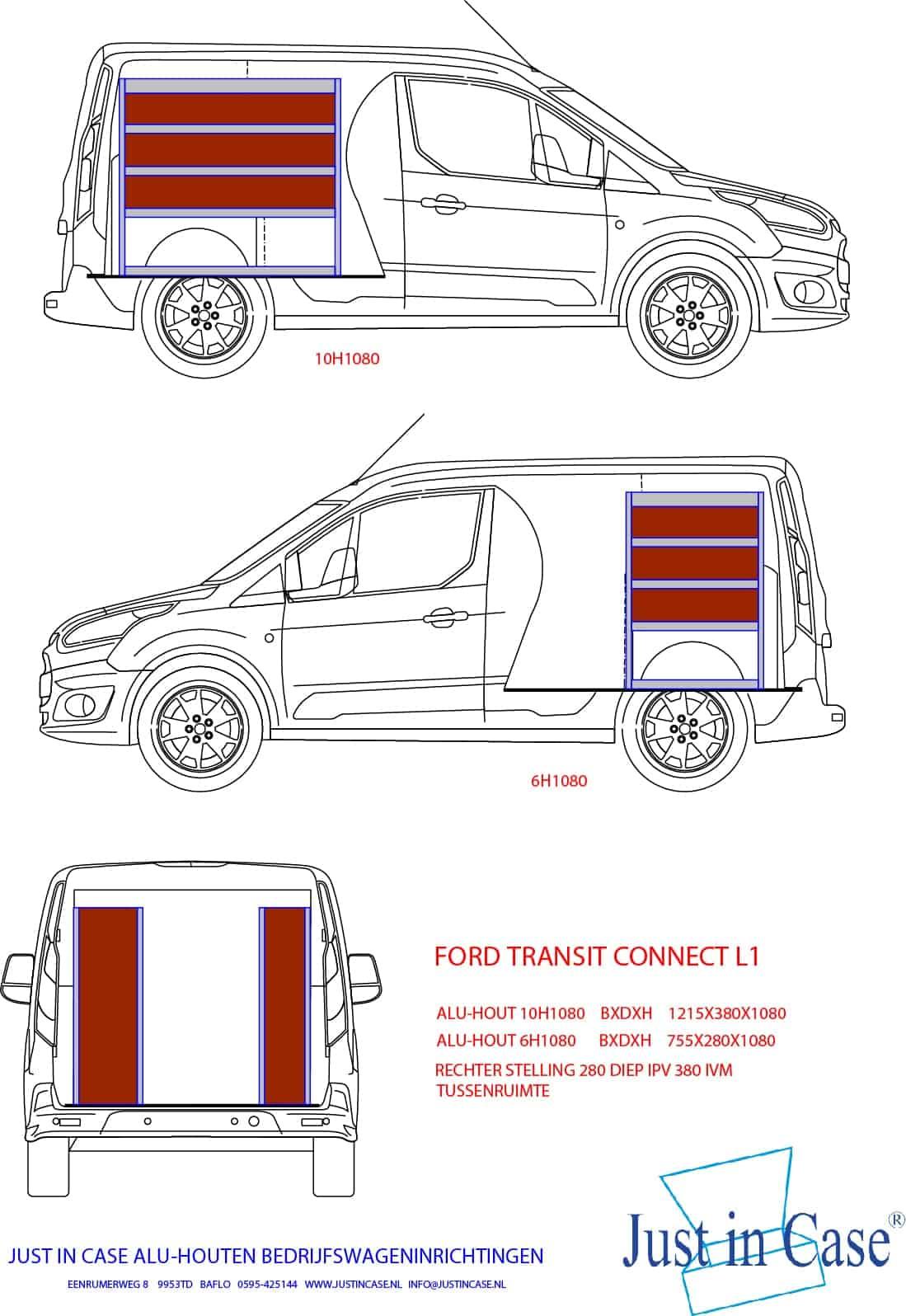 Ford Transit Connect bedrijfswageninrichting