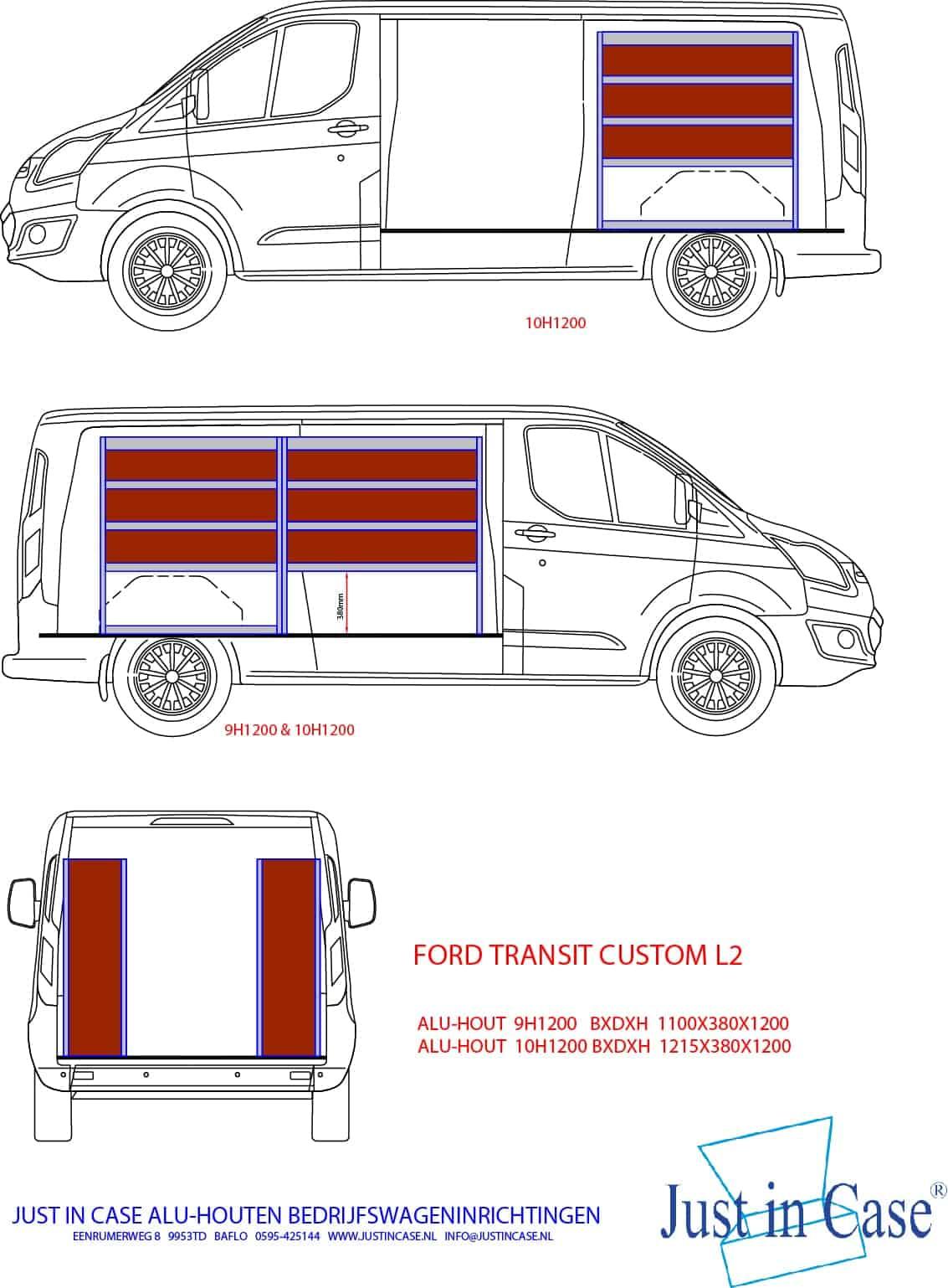 Ford Transit Custom bedrijfsbus inrichting