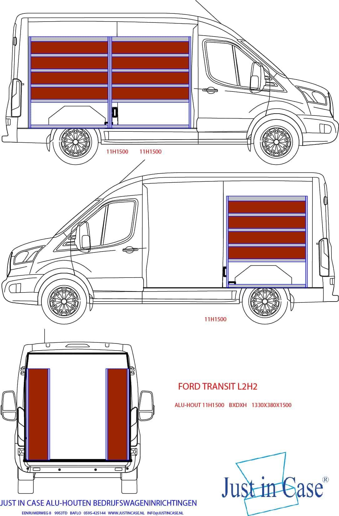 Ford Transit grote bedrijfswagen inrichten met stellingkasten