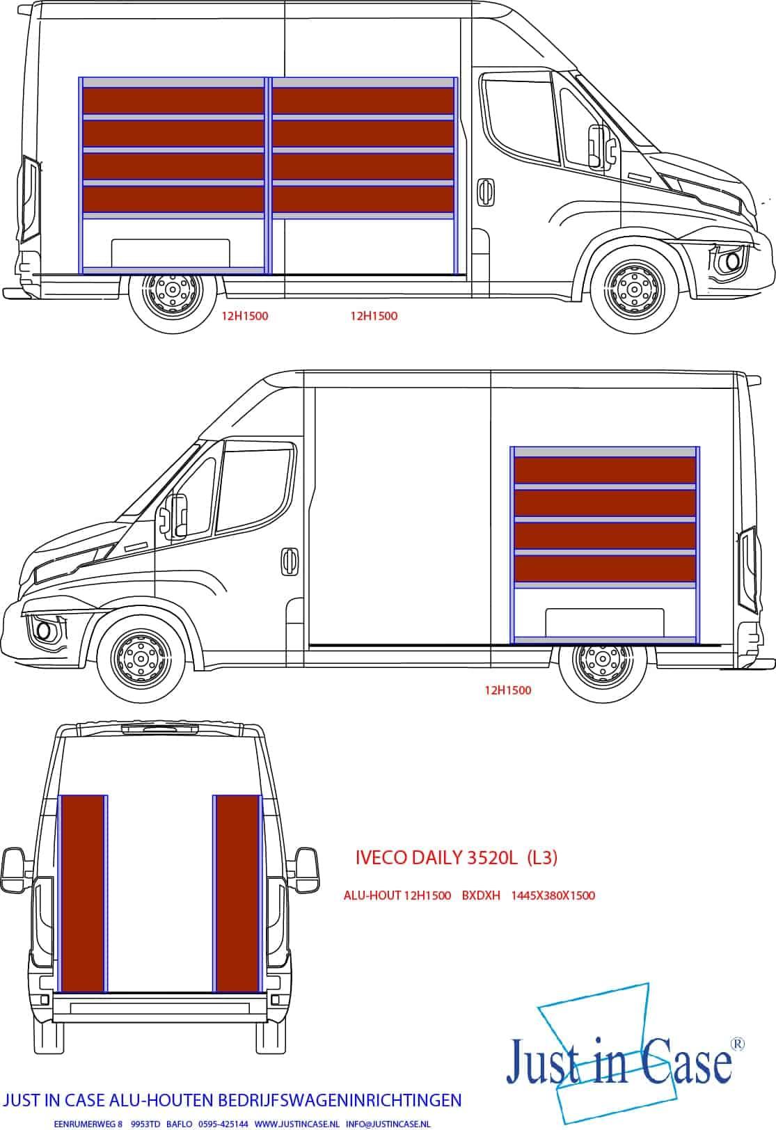 Tekening Iveco Daily Bedrijfsbus inrichten