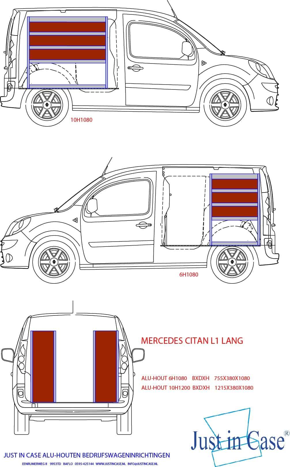 Mercedes Citan (L1) tekening bedrijfswageninrichten