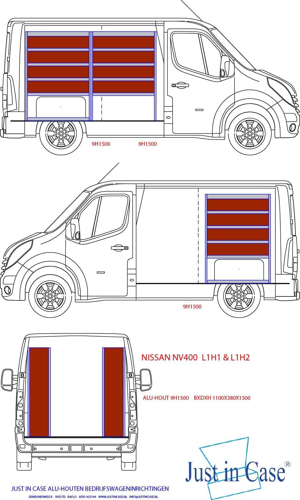 Nissan NV400 (L1) bedrijfswagen inrichten schets
