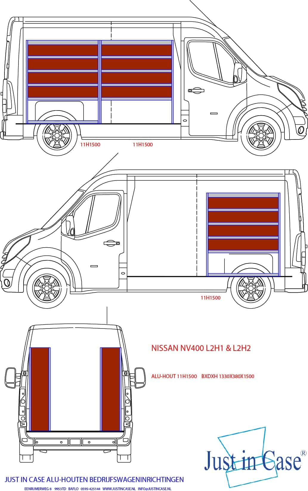 Nissan NV400 (L2) bedrijfswagen inrichten schets