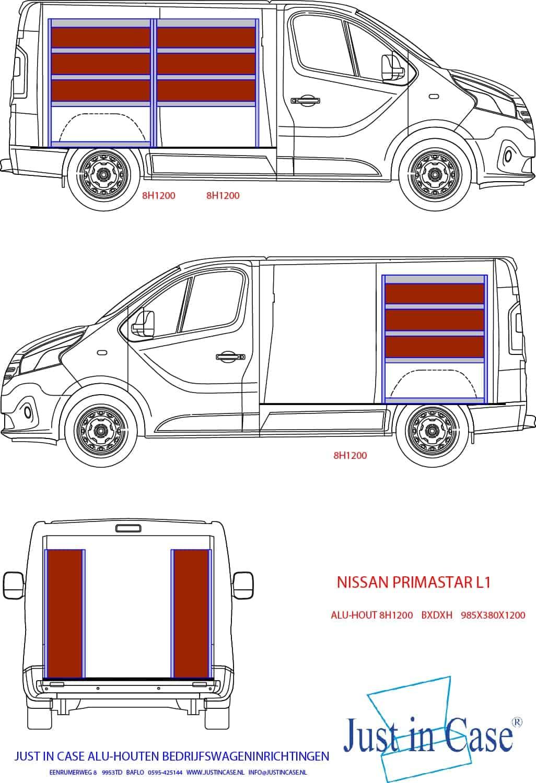Nissan Primastar (L1) bedrijfswageninrichting met stellingen schets