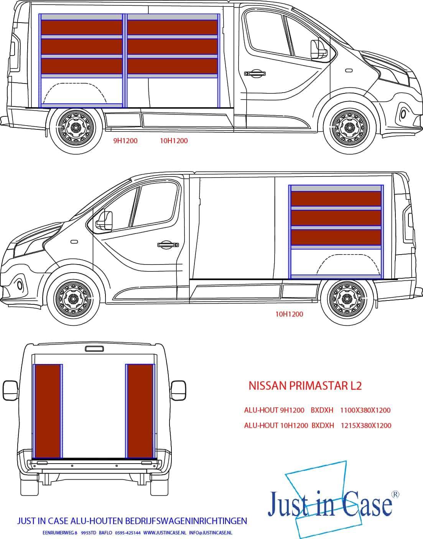 Nissan Primastar (L2) bedrijfswageninrichting met stellingen schets