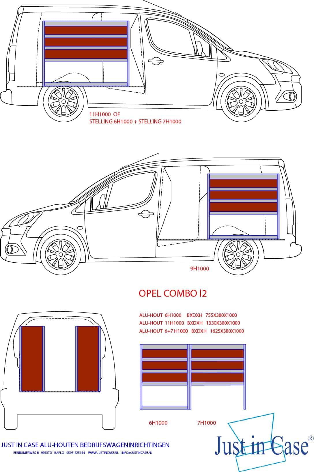 Opel Combo (L2) bedrijfswageninrichting schets