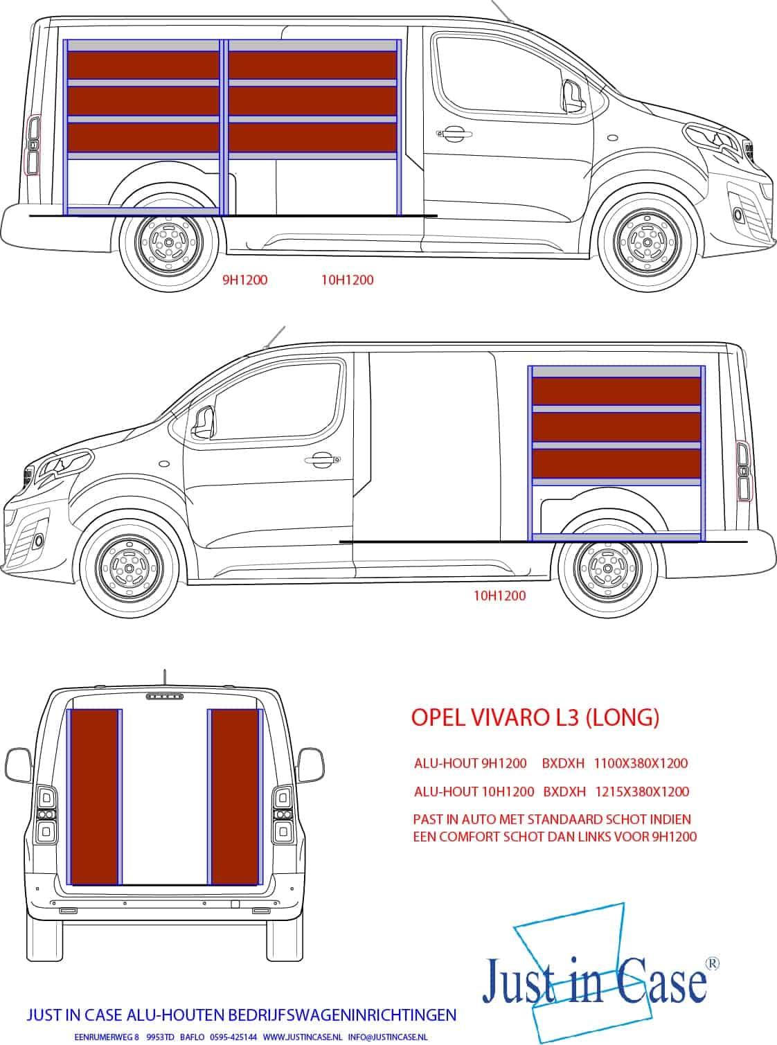 Opel Vivaro (L3) inrichtingen bedrijfswagen schets