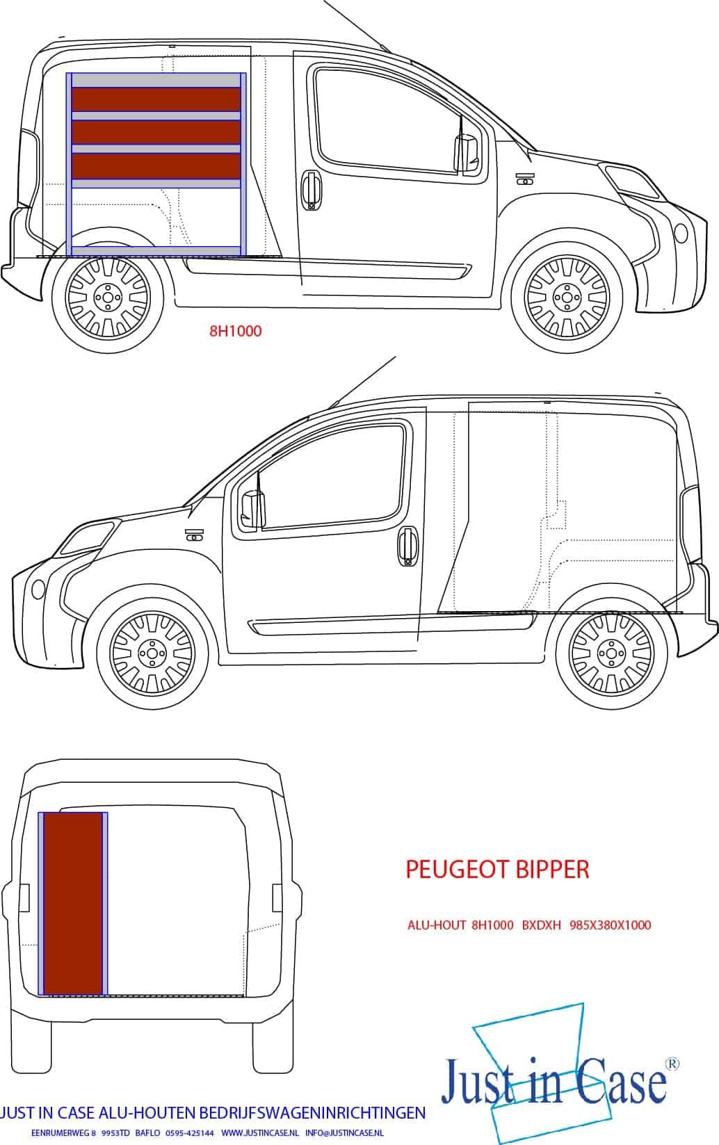 Peugeot Bipper bedrijfswageninrichting schets
