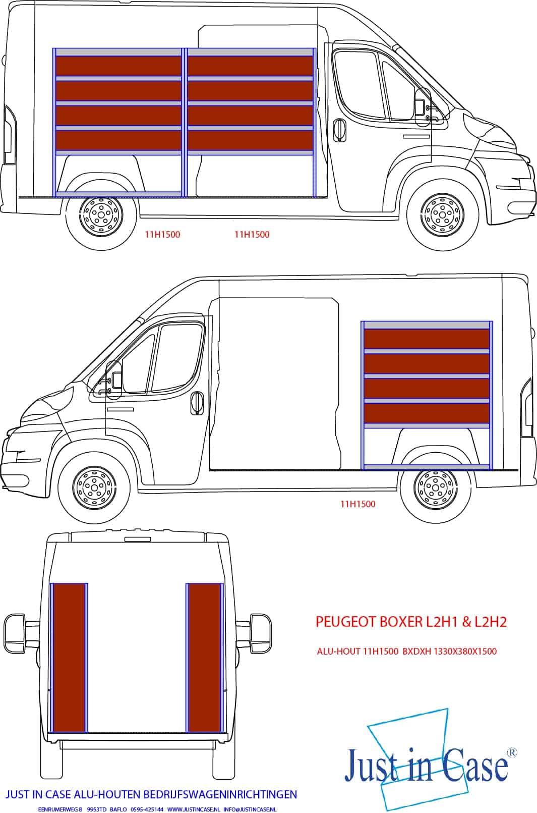 Peugeot Boxer bedrijfsbus inrichting tekening