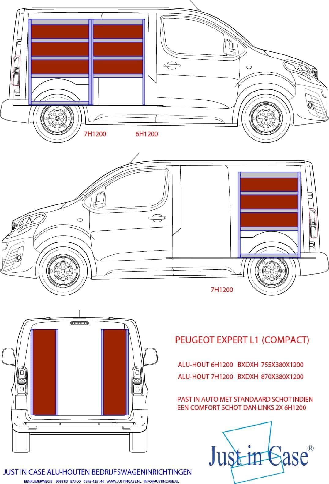 Peugeot Expert (L1) bedrijfswageninrichting schets