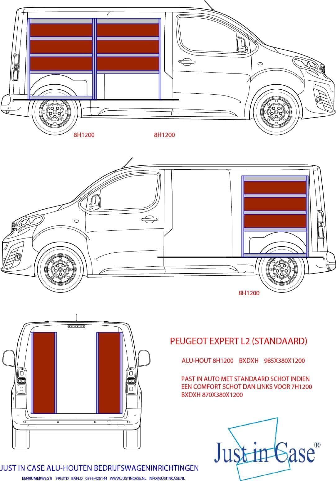 Peugeot Expert (L2) bedrijfsbus inrichten schets
