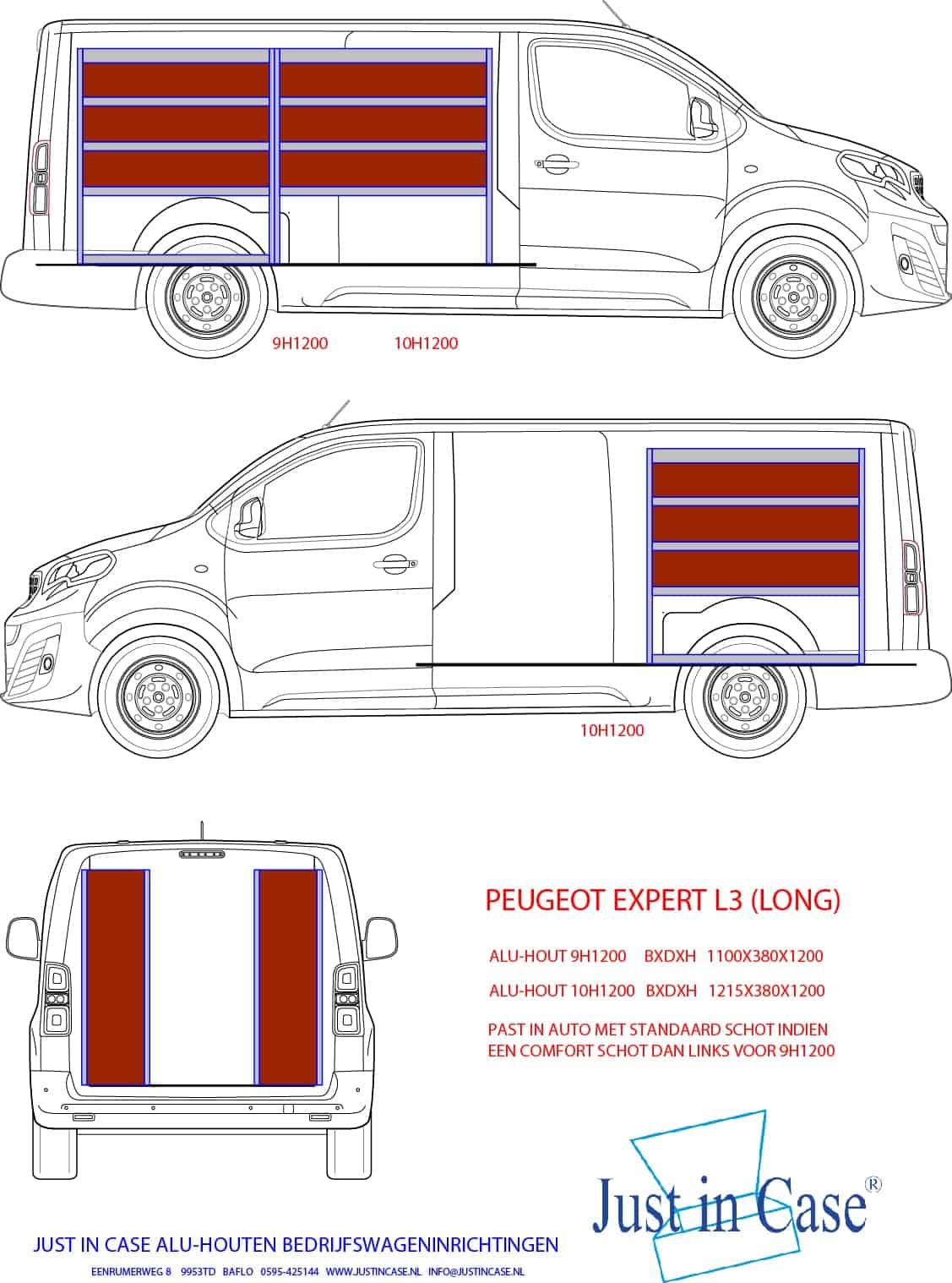 Peugeot Expert Long (L3) bedrijfswageninrichten schets