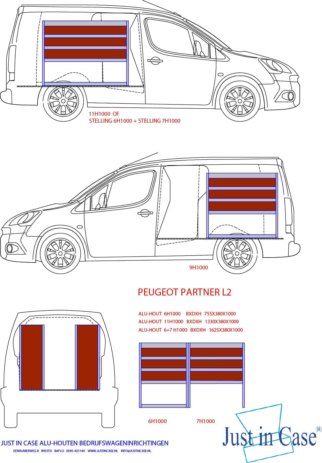 Peugeot Partner (L2) Bedrijfsbus inrichting schets