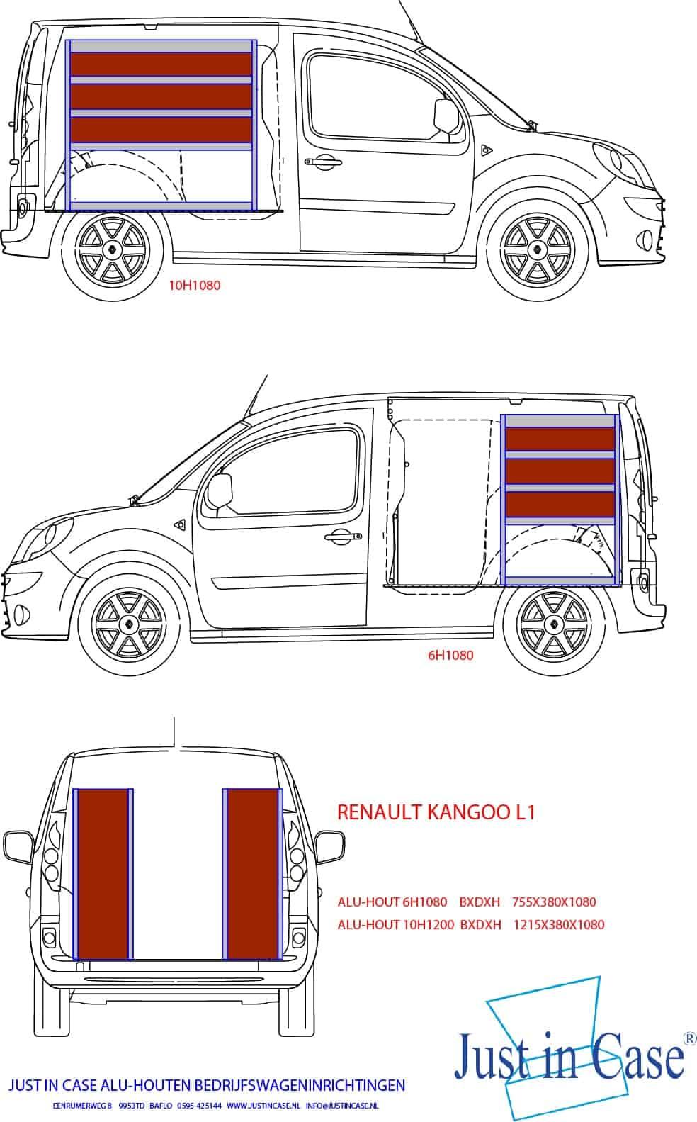 Renault Kangoo (L1) schets bedrijfswageninrichting