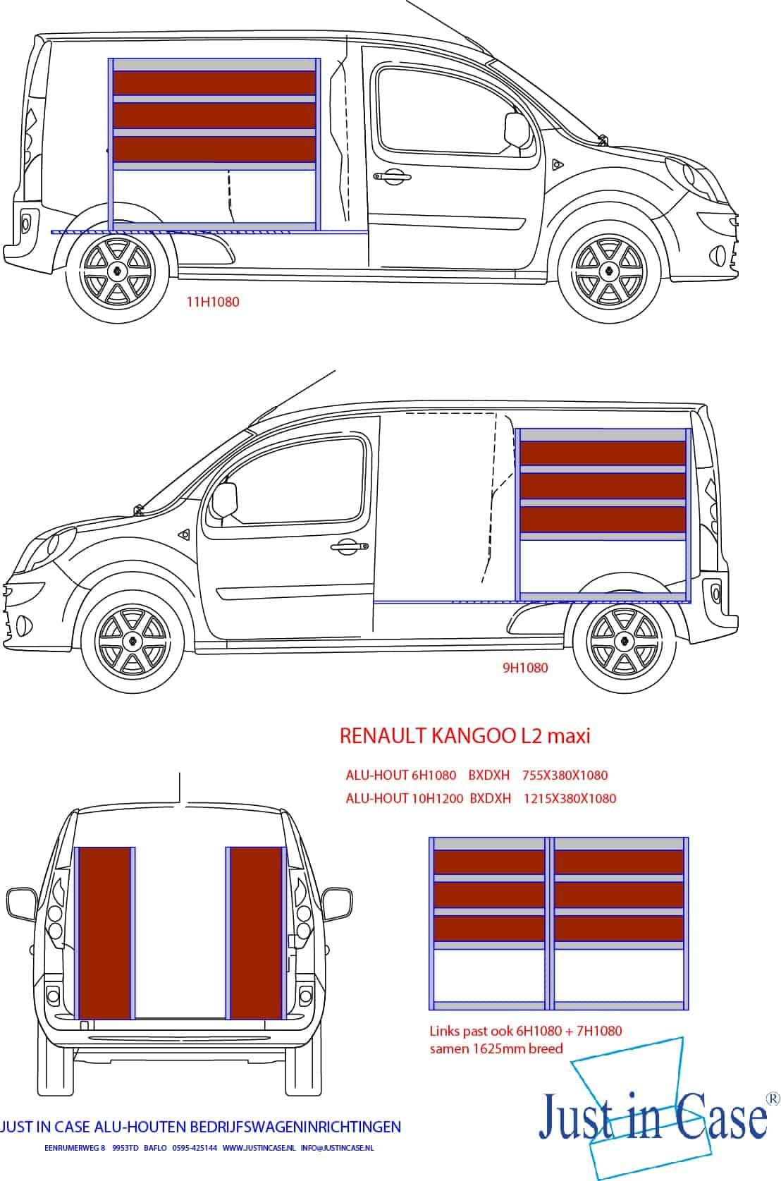 Renault Kangoo (L2) schets bedrijfswageninrichting