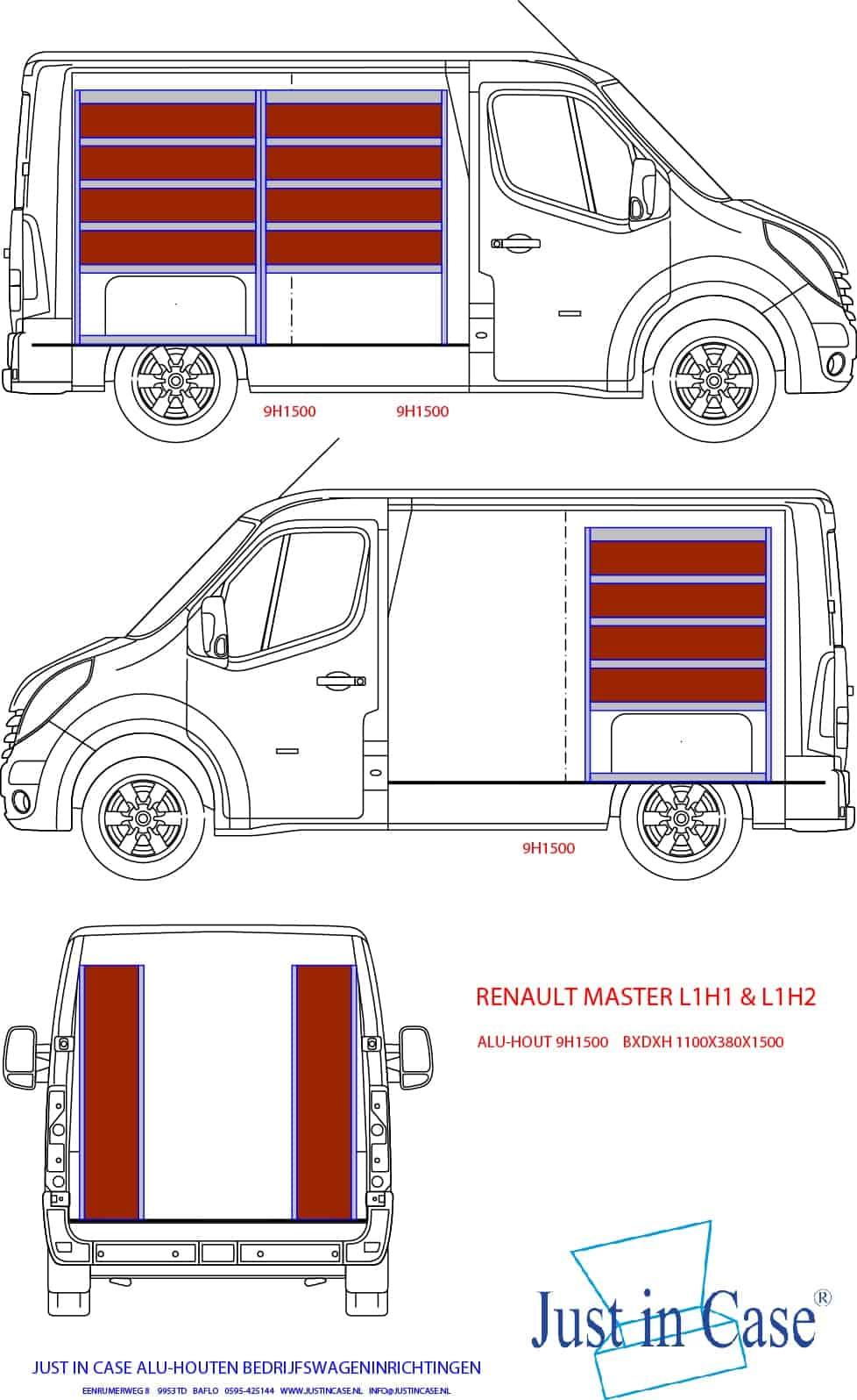 Renault Master (L1) schets bedrijfswageninrichting