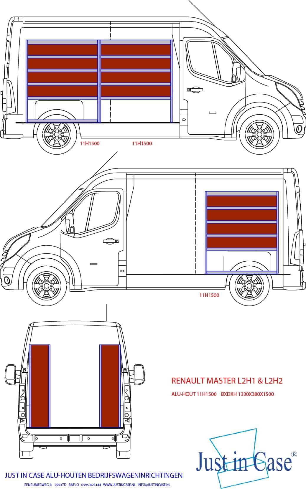 Renault Master (L2) schets bedrijfswageninrichting