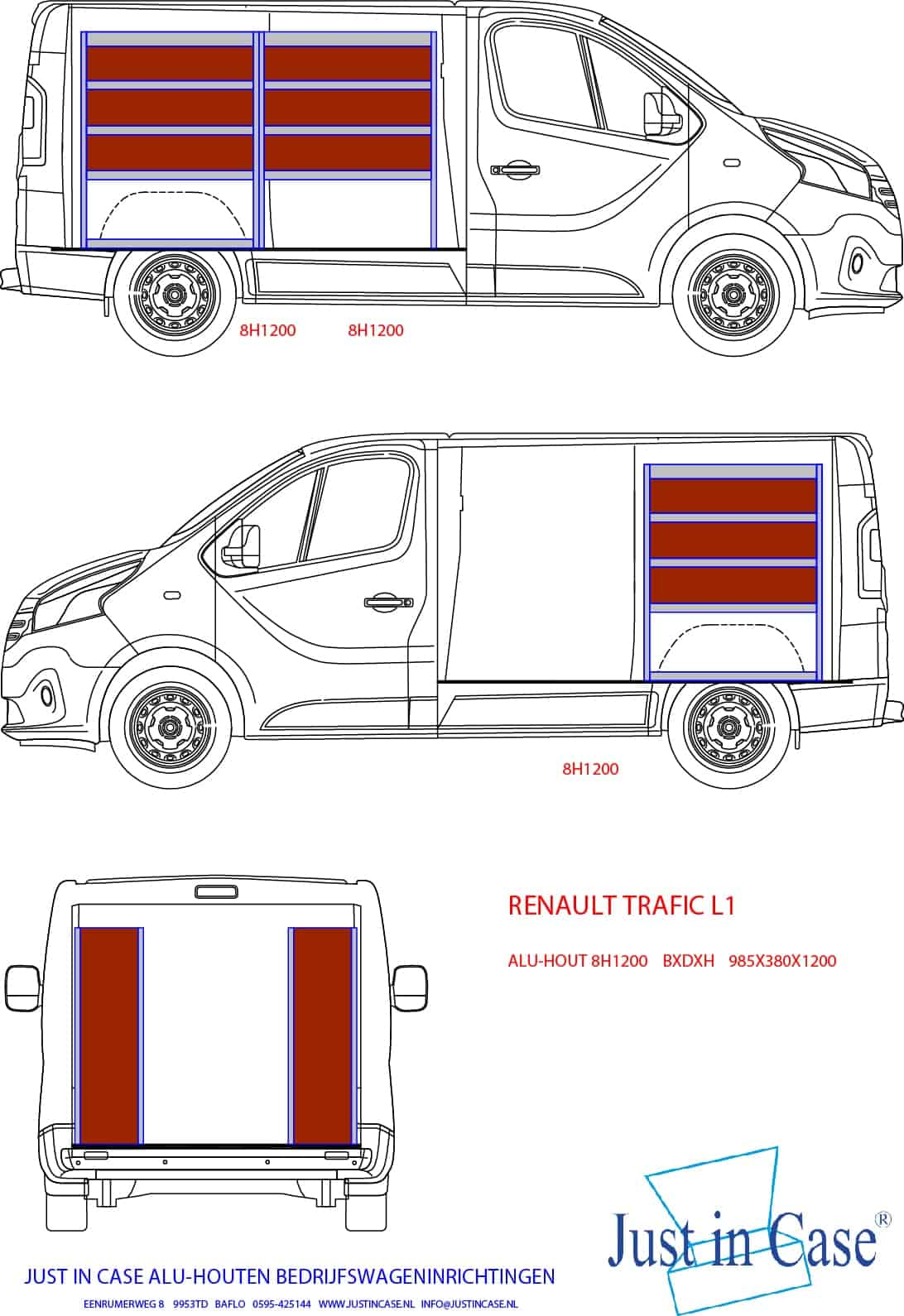 Renault Trafic (L1) schets bedrijfswageninrichting