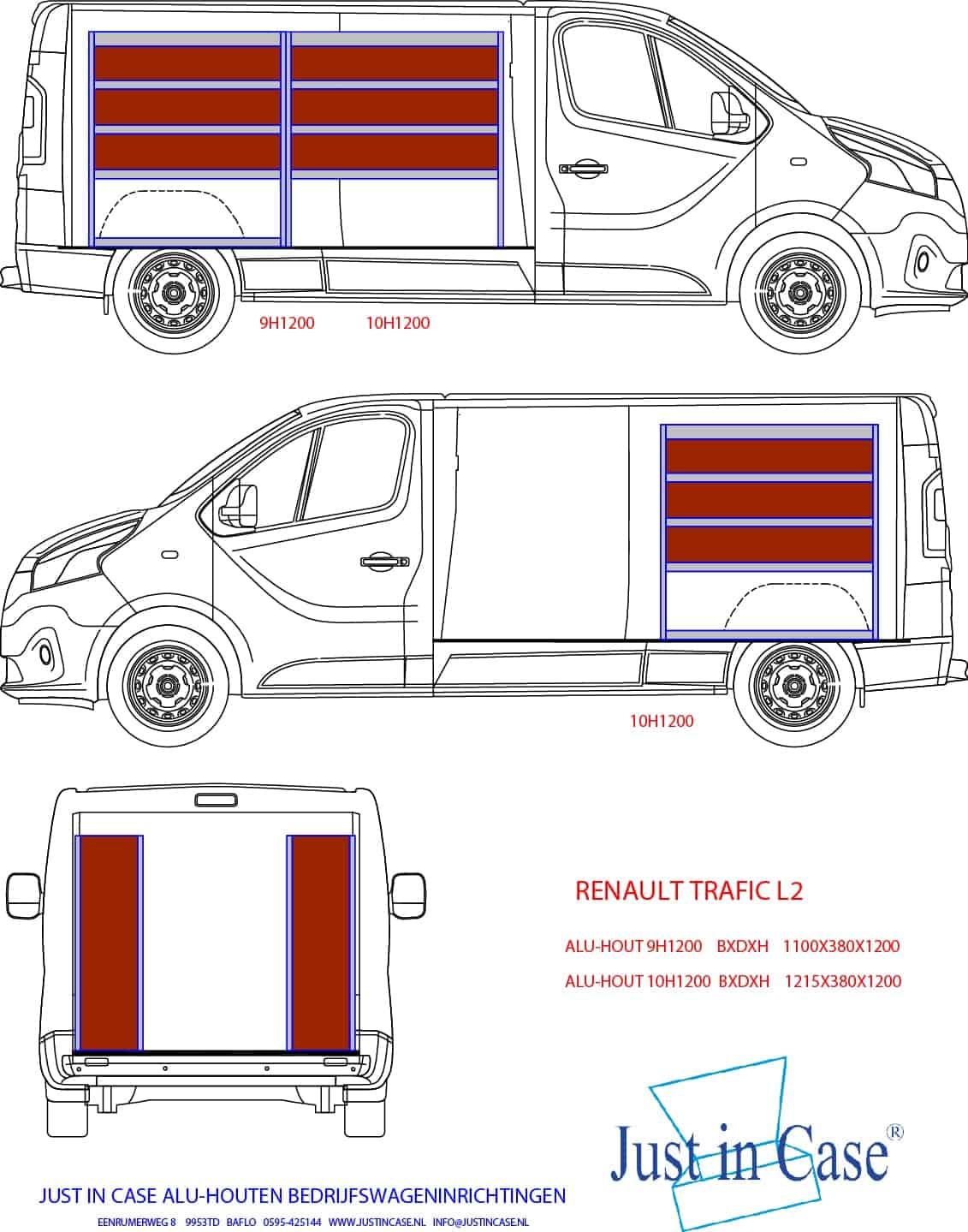Renault Trafic (L2) schets bedrijfswageninrichting