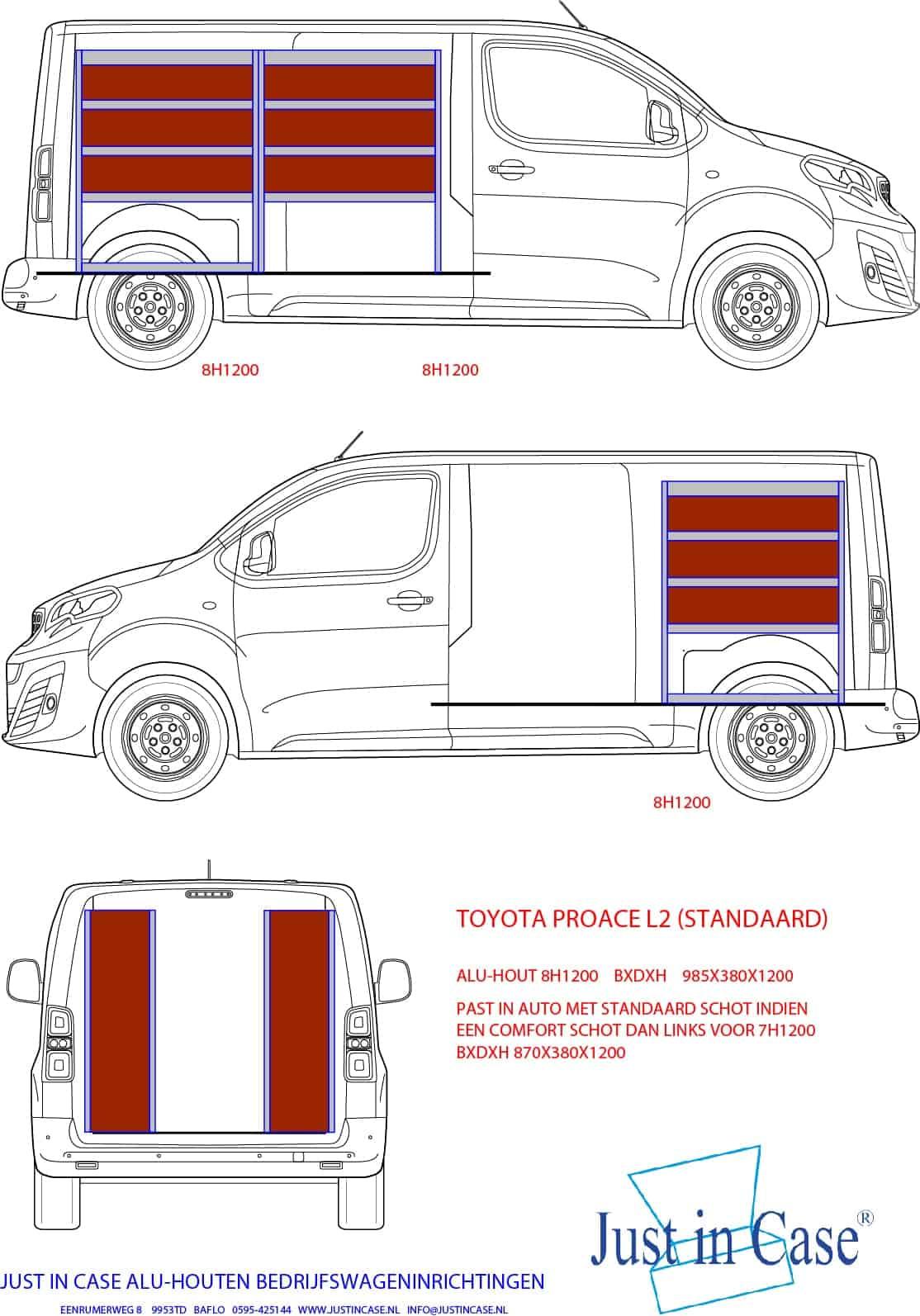 Toyota Pro ACE (Standaard) Bedrijfswageninrichting schets