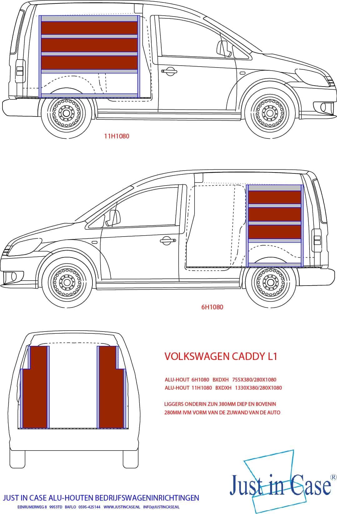 Volkswagen Caddy (Lengte 1) bedrijfswageninrichting schets