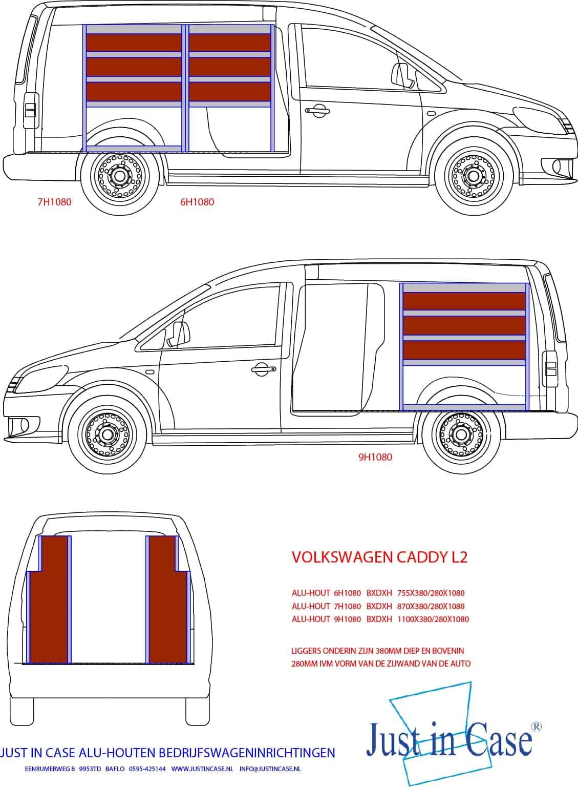 Volkswagen Caddy (Lengte 2) bedrijfswageninrichting schets