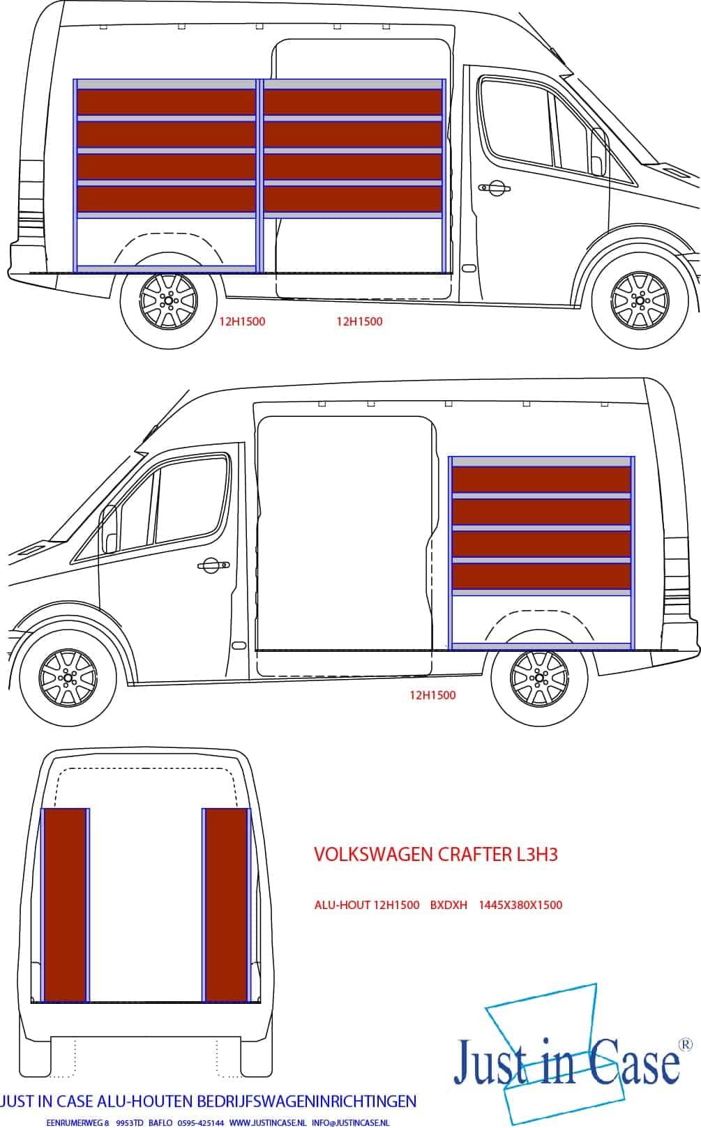 Volkswagen Crafter (Lengte 3) bedrijfswageninrichting schets