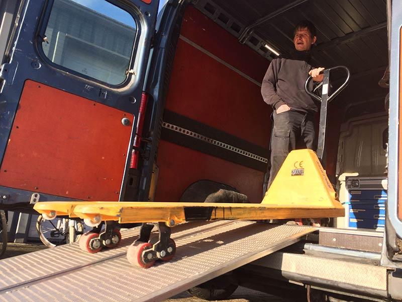 oprijsysteem voor de palletwagen