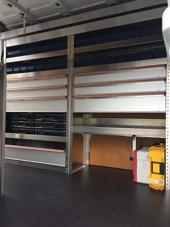 Aluminium stellingkasten voor inrichting bedrijfswagen